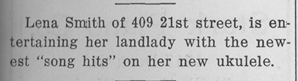 Excerpt from the November 30, 1918 issue of the Weekly Messenger (Western's student newspaper), describing student Lena Smith playing her ukelele soon after the flu-related quarantine ended.