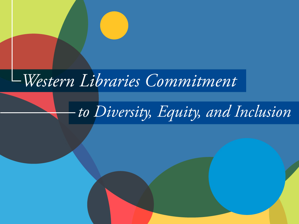 "Graphic with circles and a text overlay that reads: ""Western Libraries Commitment to Diversity, Equity, and Inclusion"""
