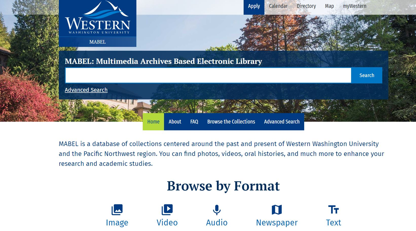 Screenshot image of MABEL's landing page header; text that reads: MABEL: Multimedia Archives Based Electronic Library; placed over a search box with options to browse the collections or browse by format.