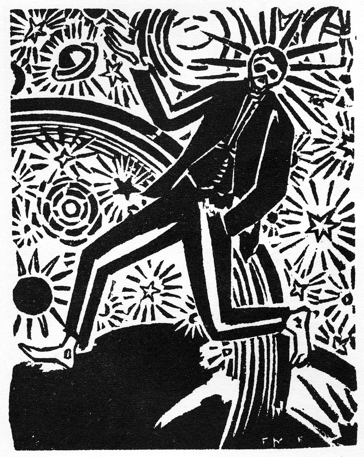 Black-and-white illustration of a skeleton or spirit sauntering happily through space, From Frans Masereel's My Book of Hours, published in 1919