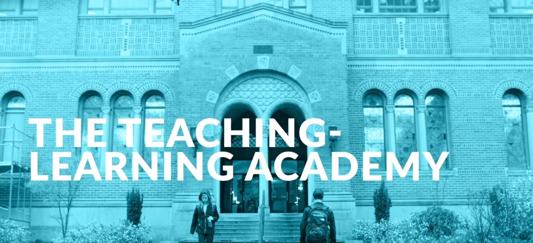 "North entrance to Wilson Library with blue filter and the words ""Teaching-Learning Academy"" overlayed on top."