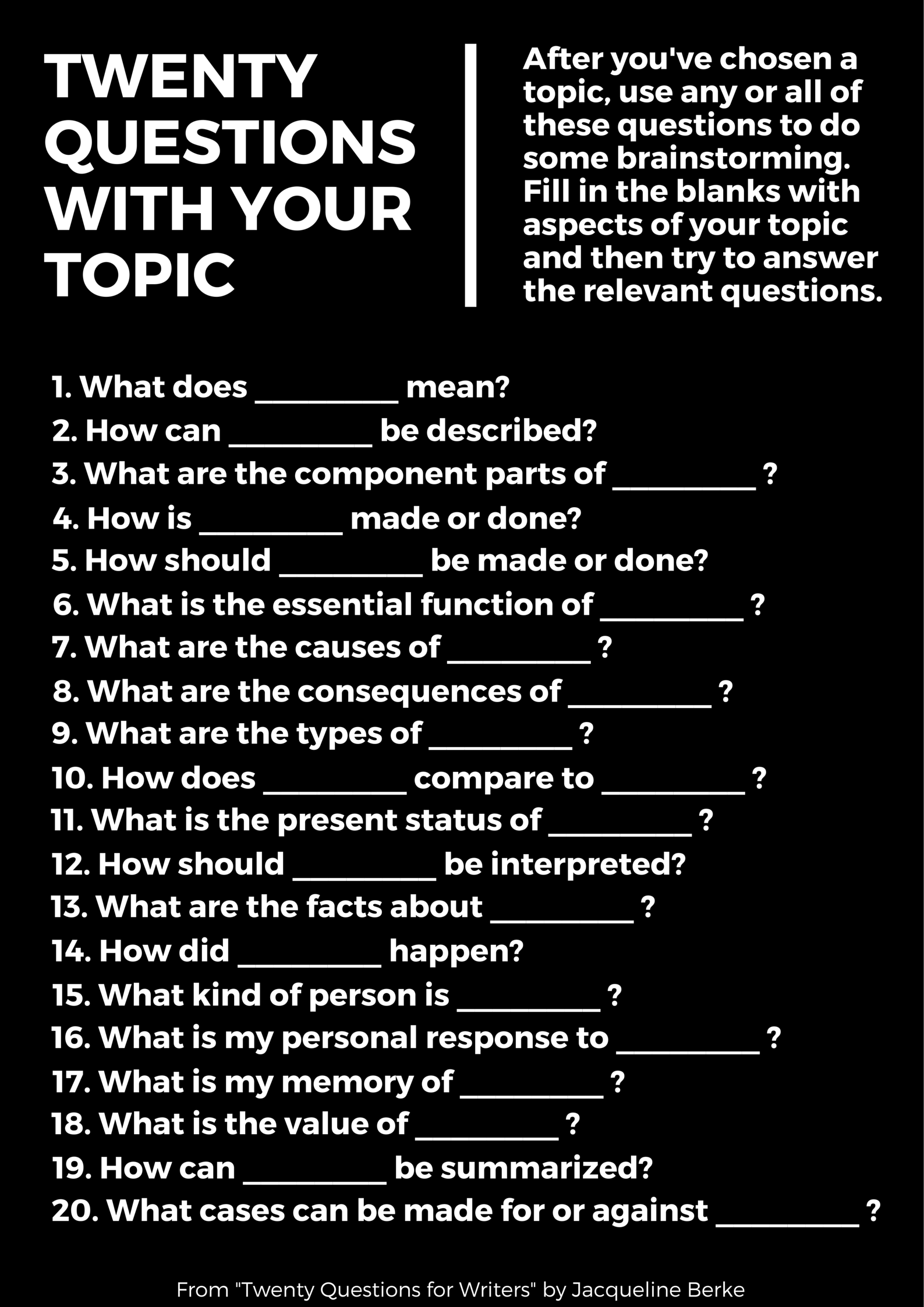 Twenty Questions for Developing Your Topic | Western Libraries