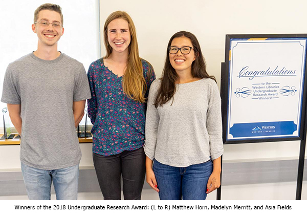 Winners of the 2018 Undergraduate Research Award: (L to R) Matthew Horn, Madelyn Merritt, and Asia Fields