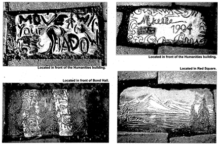 Clipping from the March 12, 2002 Western Front (Western's student newspaper), showing other painted bricks from around campus.