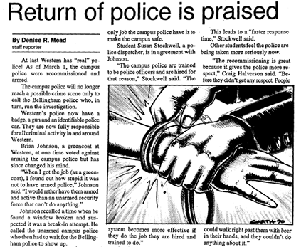 Article from the April 10, 1990 Western Front (Western's student newspaper) describing the return of armed police to campus.