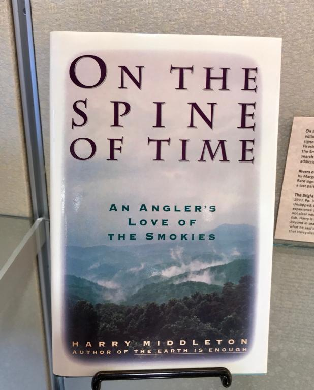 On the Spine of Time by Harry Middleton, on display.