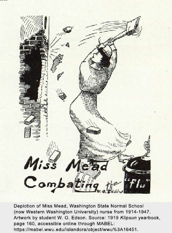 """Drawing depiction of Miss Mead with the text """"Miss Mead Combatting the Flu"""""""