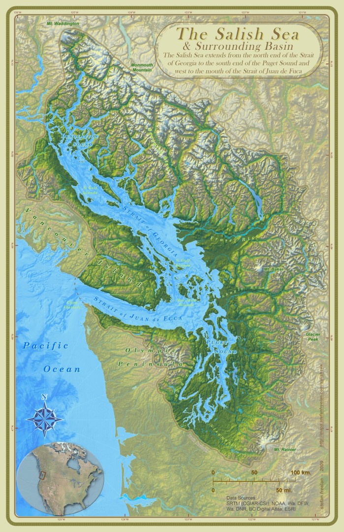 "Image of the map ""The Salish Sea & Surrounding Basin,"" by Stefan Freelan. Text on the map reads: ""The Salish Sea extends from the north end of the Strait of Georgia to the south end of the Puget Sound and west to the mouth of the Straight of Juan de Fuca."