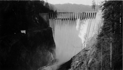 downstream face of Lower Baker RIver Dam 1925