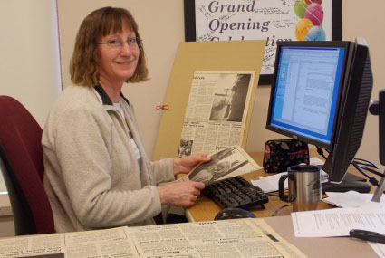 Sandy Celec indexing the student newspaper collection