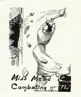 "Artwork by student W. O. Edson depicting Normal School nurse May Mead ""Combating the flu,"" from the 1919 Klipsun yearbook."