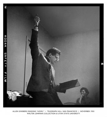 "Allen Ginsberg reading ""Howl,"" Nov. 1955, from the Walter Lehrman Collection at Utah State University."