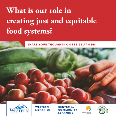 "mage of carrots, tomatoes, and other vegetables with the text: ""What is our role in creating just and equitable food systems"" and the date Feb. 26th above in a red -colored question box."
