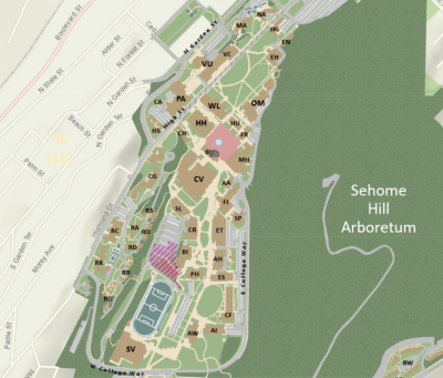 Image of map of Western's main campus with building locations noted via building initials