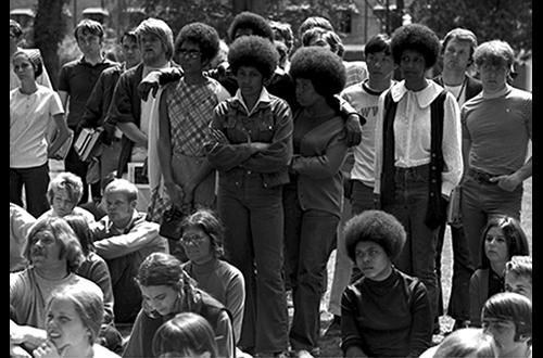 Black Student Union rally, 1970, Campus History Collection, SC